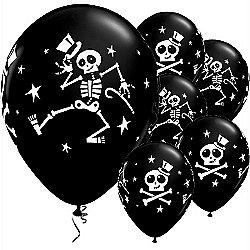 Dancing Skeleton Balloons 11 Inch Latex 25 Pack