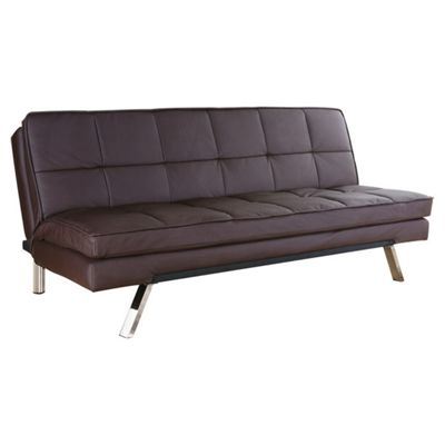 Leader Lifestyle Florence Futon Sofa Bed - Brown Faux Leather