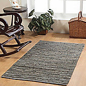 Homescapes Denver Leather Woven Rug Grey Hall Runner