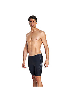 Speedo Endurance10 Logo Panel Mens Swimming Aquashort Brief Black/Grey - Black