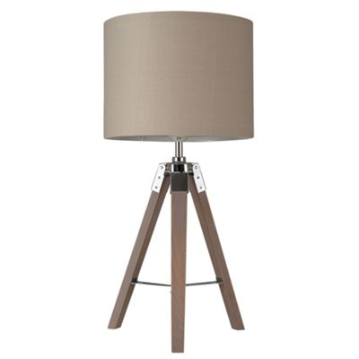 Marine Tripod Table Lamp Base, Wood & Chrome & Beige