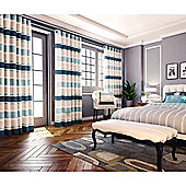 Pimlico Striped Chenille Eyelet Lined Curtains - Teal