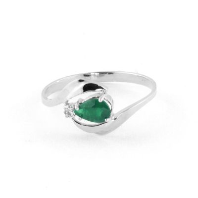 QP Jewellers Diamond & Emerald Flare Ring in 14K White Gold - Size U