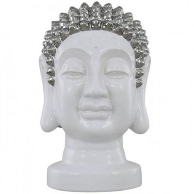 Buddha - Ceramic Buddha Decorative Head Ornament - White / Silver