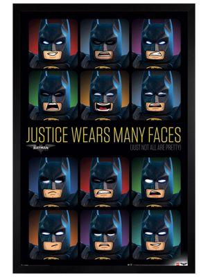 Lego Batman Black Wooden Framed Justice Wears Many Faces Poster 61x91.5cm
