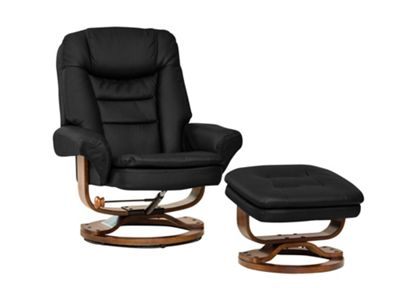 Sofa Collection Livorno Swivel Chair And Footstool - Black