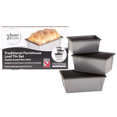 Wham Traditional Farmhouse Loaf Tin Set - 1lb, 2lb, 3lb