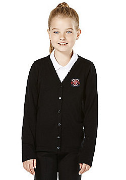 Girls Embroidered Scallop Edge School Cotton Cardigan with As New Technology - Black
