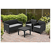 Keter Chicago Rattan Effect 4 Seater Garden Lounge Set, Grey