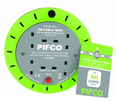 Pifco 5m 4 Gang Extension Lead Cable Reel