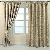 "Homescapes Cream Jacquard Curtain Traditional Paisley Design Fully Lined - 90"" X 90"" Drop"