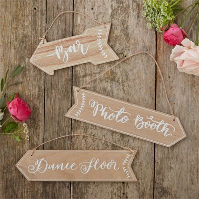 Boho Wedding Wooden Arrow Signs - 'Bar', 'Photo Booth' & 'Dance Floor'