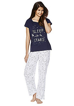 F&F Star Slogan Jersey Pyjamas - Navy