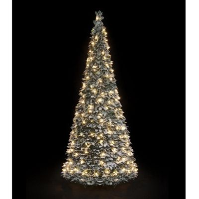 5ft Pre-Lit Pop Up, Flocked Holly Christmas Tree (150 Warm White LEDs - Buy Flock Holly Pop Up Tree From Our Christmas Trees Range - Tesco