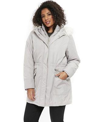 Evans Faux Fur Hood Plus Size Parka Silver Grey 16