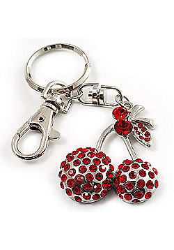 Ruby Red Coloured Diamante Cherry Keyring