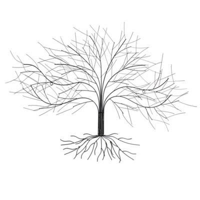 Large Black Metal Tree Silhouette Sculpture Wall Art