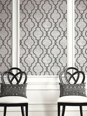 Cork Geometric Trellis Wallpaper Cool Grey Pear Tree UK20900