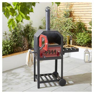 Tesco Charcoal Multifunction Pizza Oven with Side Shelf