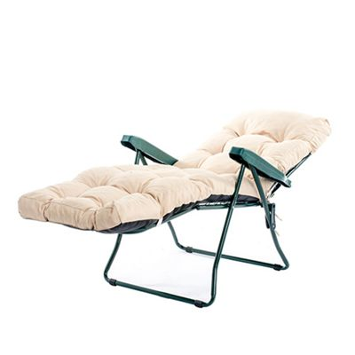 Gardenista Tufted Reclining Lounger Seat Pad in Water Resistant Fabric with Ties - Stone
