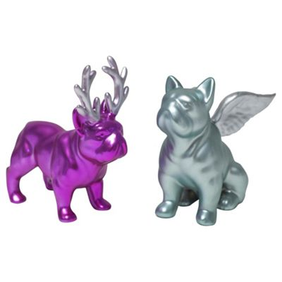 Set of 2 Small Pink & Blue Ceramic Christmas French Bulldog Ornaments
