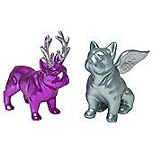Set of 2 Small Pink & Blue Ceramic Christmas French Bulldog Ornaments