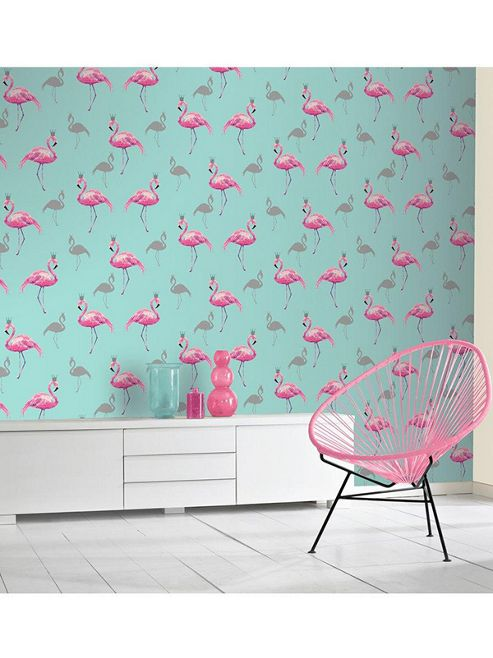Queen Flamingo Wallpaper Pink / Teal Arthouse 674701