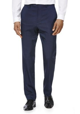F&F Twill Flexi Waist Regular Fit Trousers 30 Waist 29 Leg Navy