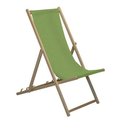 Harbour Housewares Traditional Adjustable Wooden Beach Garden Deck Chair - Lime Green