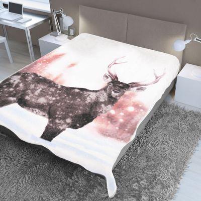 Dreamscene Faux Fur Blanket Throw - Winter Deer 150 x 200 cm