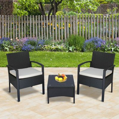 Outsunny 3PC Rattan Bistro Set Outdoor Chair Coffee Table Set Patio w/ Cushion - Brown