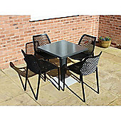 Brackenstyle Madrid Pedestal Table and 4 Black Orion Chairs - Seats 4
