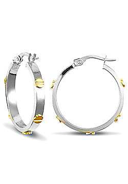 Jewelco London 9ct White Gold hoop Earrings with Yellow Gold screws