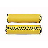 Ultimate Hardware Stitched Leather Effect Handlebar Grips Yellow