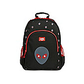 Tinc Alien design childs Backpack for school with 2 water bottle pockets and large storage compartment - Black/Red