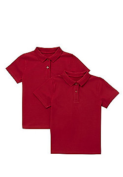 F&F School 2 Pack of Girls Pique Polo Shirts with As New Technology - Red