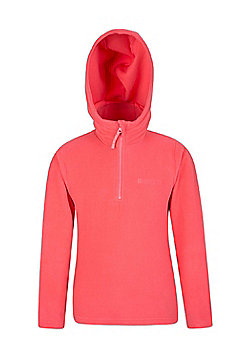 Mountain Warehouse Camber Kids Microfleece Hoodie Boys Girls Hooded Top Childs - Coral