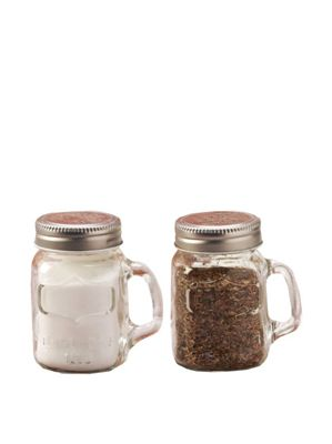 Eddingtons Circleware Yorkshire Glass Salt and Pepper Shakers with Metal Lid 20666734