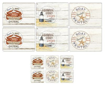 Pimpernel Coastal Signs Placemats & Coasters, Set of 6
