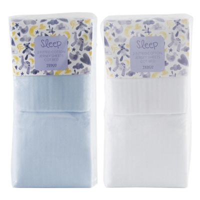 Cotbed Fitted Sheets, White & Blue 4 pack