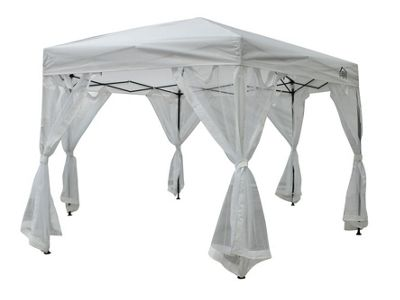 All Seasons Gazebo 2mx2mx2m Instant Pop Up Hexagonal gazebo With 6 Sides Panels, Leg Weight Bags, Carry Bag And 2 Windbars in White