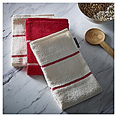Go Cook Red Stripe Kitchen Towel 3pk