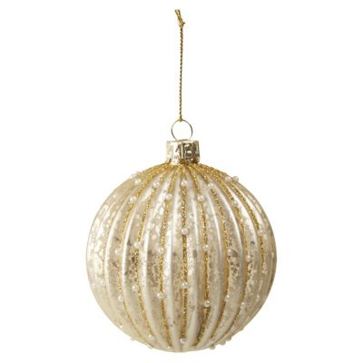 Gold Christmas Bauble With Glitter And Pearls