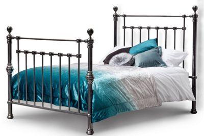 York Victorian Vintage Shiny Black Nickel Metal Double Bed Frame