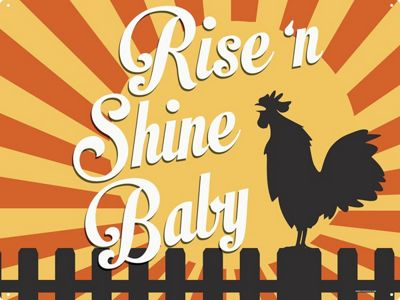 Rise 'N Shine Baby Tin Sign 30.5 x 40.7cm