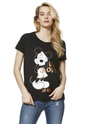 Disney Mickey Mouse Uh-Oh Foil Graphic T-Shirt Black 8