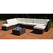 Valencia Modular Garden Rattan Corner Sofa Set with Table Brown