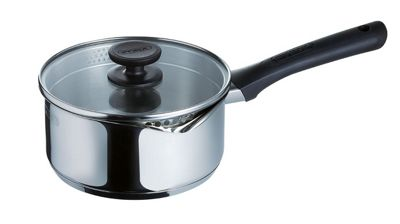 Pyrex Pronto Stainless Steel Saucepan with Glass Lid Cover, 14 cm