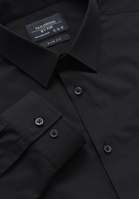 F&F Easy Care Slim Fit Shirt 17.5 Black