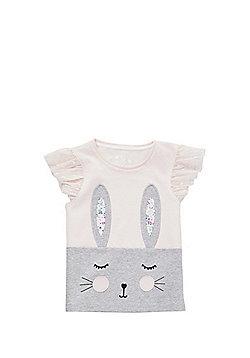 F&F Bunny Applique T-Shirt - Pink/Grey